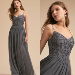 BHLDN Elowen Gown in Steel Gray NWOT